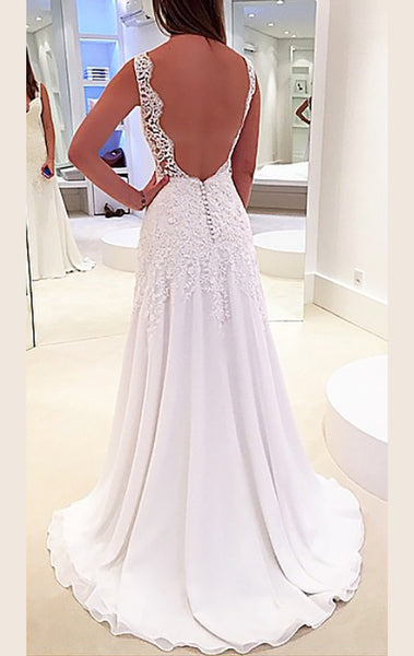 MACloth Straps V Neck Lace Chiffon Long Prom Dress Ivory Formal Gown