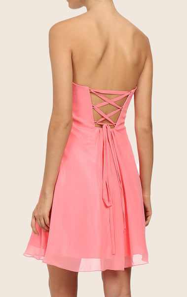 MACloth Strapless Sweetheart Chiffon Cocktail Dress Wedding Party Dress
