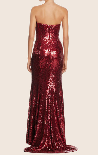 MACloth Strapless Sweeteheart Sequin Long Prom Dress Red Formal Gown