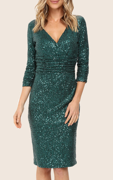 MACloth Half Sleeves V Neck Sequin Cocktail Dress Midi Party Formal Gown
