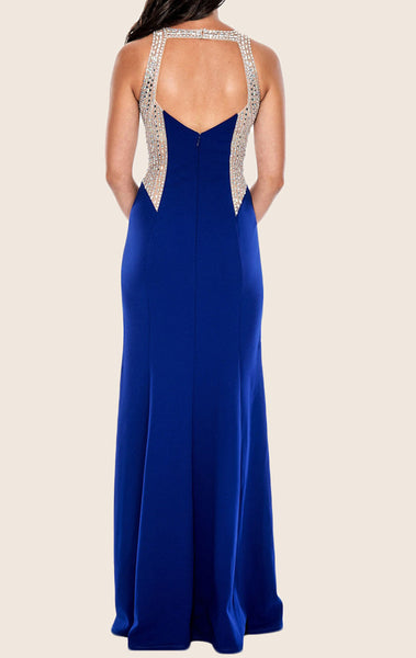 MACloth Halter O Neck Sheath Long Prom Dress Royal Blue Formal Gown