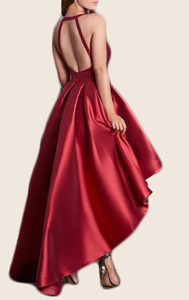MACloth Straps V Neck High low Prom Dress Red Formal Party Gown