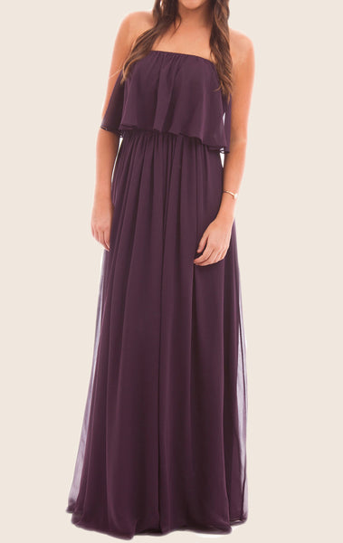 MACloth Off the Shoulder Chiffon Long Bridesmaid Dress