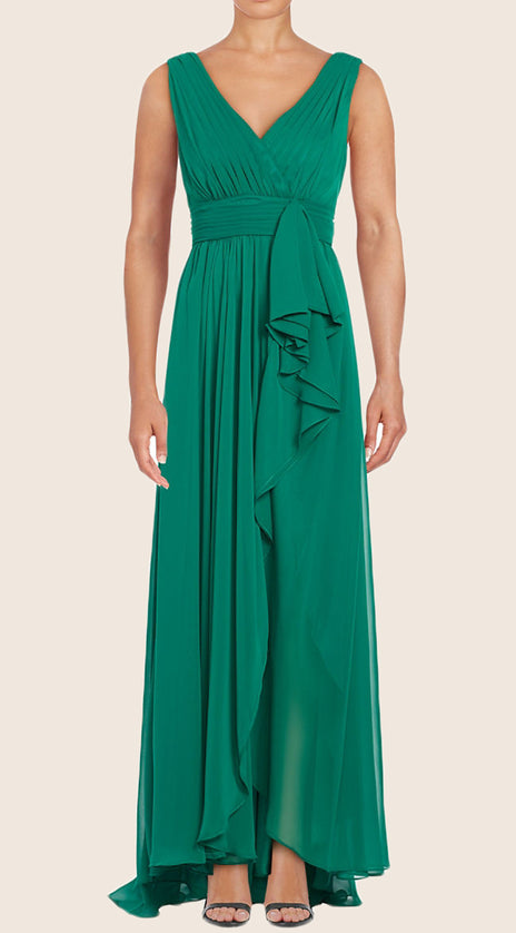 MACloth Straps V neck Chiffon Long Bridesmaid Dress Simple Prom Gown