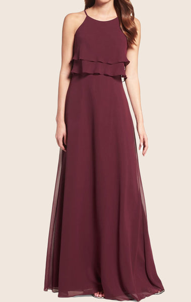 MACloth Straps O Neck Chiffon Tiered Long Bridesmaid Dress Formal Gown