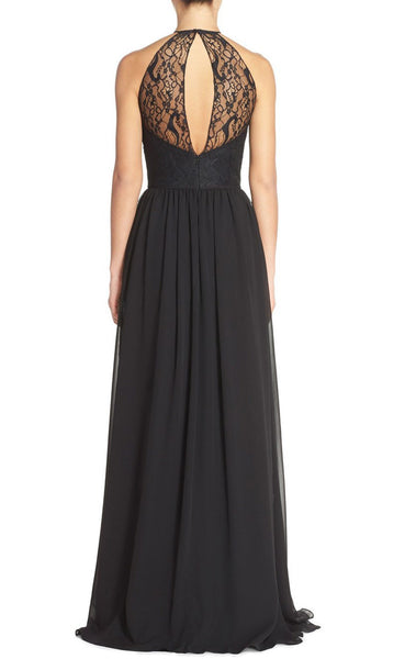 MACloth Halter Lace Chiffon Long Black Bridesmaid Dress Simple Prom Dress