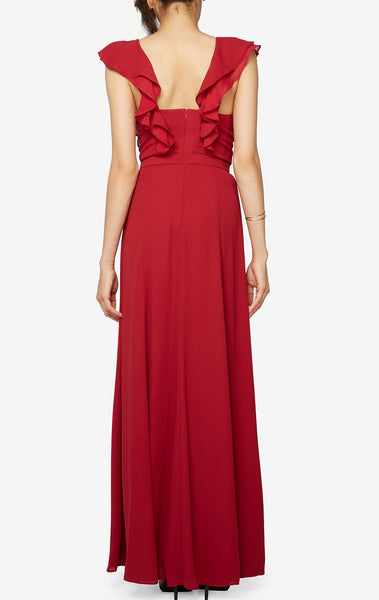 MACloth Straps V Neck Chiffon Long Bridesmaid Dress Ruffled Prom Gown