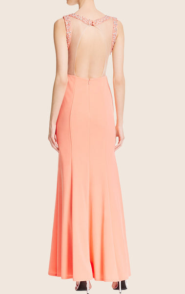 MACloth Sheath Jersey Long Prom Dress Peach Formal Gown