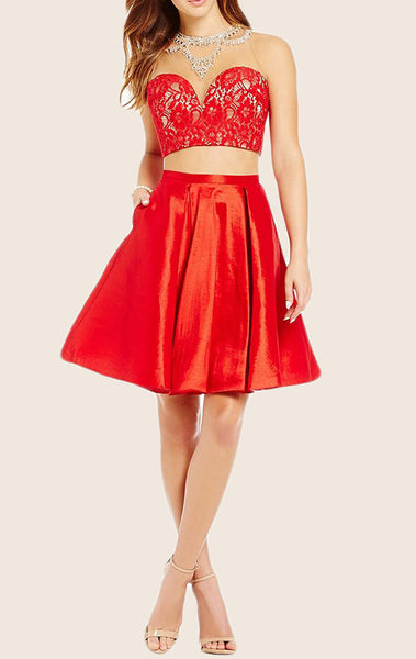 MACloth Two Piece Lace Taffeta Short Prom Homecoming Dress