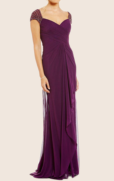 MACloth Cap Sleeves V Neck  Chiffon Mother of the Brides Dress Purple Evening Gown