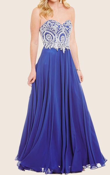 MACloth Strapless Sweetheart Long Prom Dress Royal Blue Formal Gown