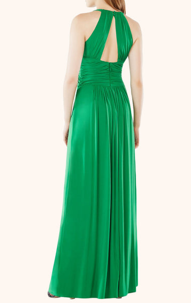 MACloth Halter O Neck Chiffon Long Prom Dress Green Formal Party Gown