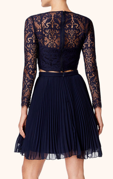 MACloth Long Sleeves Two Piece Lace Cocktail Dress Dark Navy Short Formal Gown