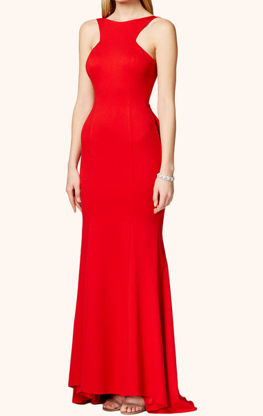 MACloth Halter O Neck Jersey Long Prom Dress Red Formal Gown