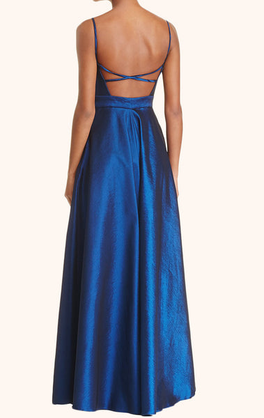 MACloth Spaghetti Straps V neck Long Prom Dress Royal Blue Formal Dress