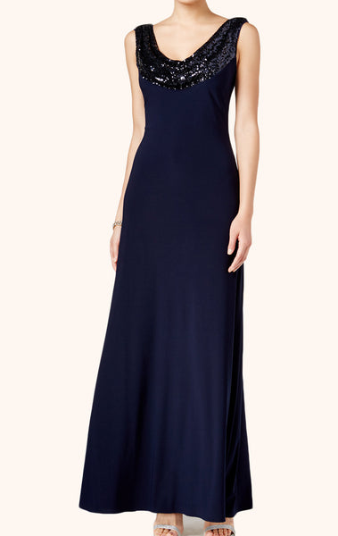 MACloth Straps Cowl Neck Sequin Jersey Formal Evening Gown