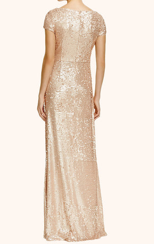 MACloth Cap Sleeves Sequin Evening Formal Gown Long Bridesmaid Dress
