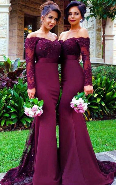 MACloth Mermaid Long Sleeve Lace Jersey Prom Dress Purple Formal Gown