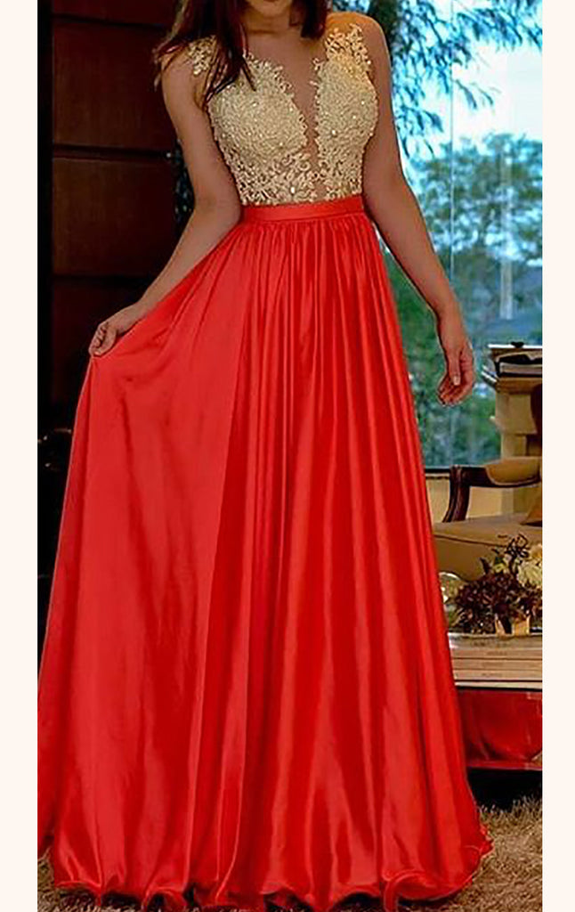 MACloth Straps V Neck Lace Long Prom Dress Open Back Red Formal Gown