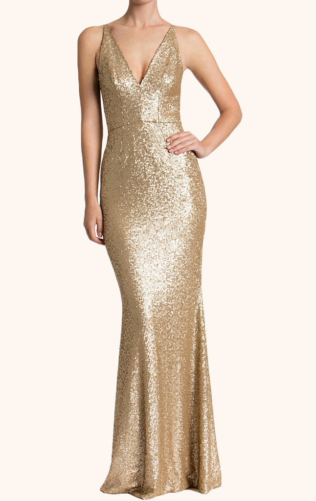 MACloth Straps V Neck Sequin Formal Evening Gown Wedding Party Dress