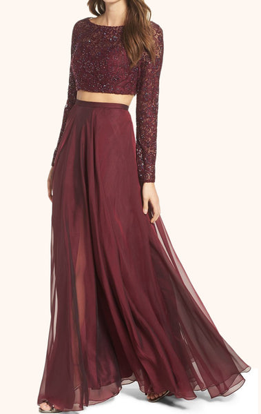 MACloth Two Piece Long Sleeves Lace Prom Gown Burgundy Formal Dress
