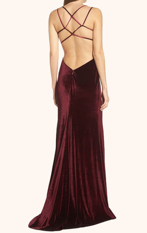 MACloth Backless Velvet Long Prom Dress Burgundy Formal Gown