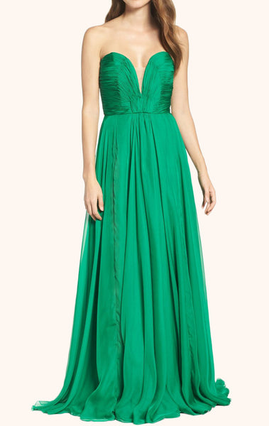 MACloth Strapless Sweetheart Chiffon Long Prom Dress Green Formal Gown