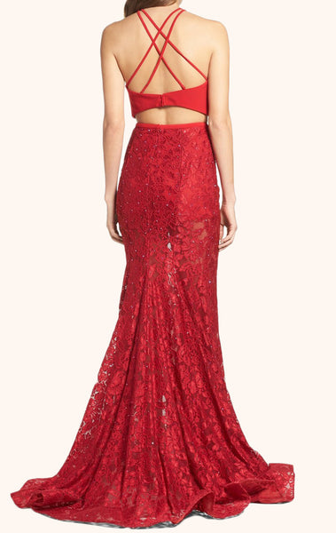 MACloth Two Piece Lace Long Prom Dress Red Formal Evening Gown