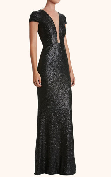 MACloth Cap Sleeves V Neck Sequin Long Prom Dress Black Formal Gown