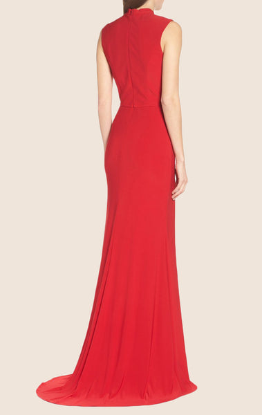 MACloth High Neck Jersey Long Prom Dress with Slit Red Formal Gown