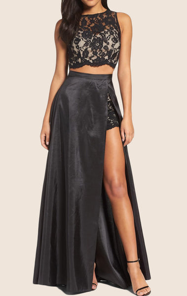 MACloth Two Piece Lace Taffeta Prom Dress Black Formal Gown