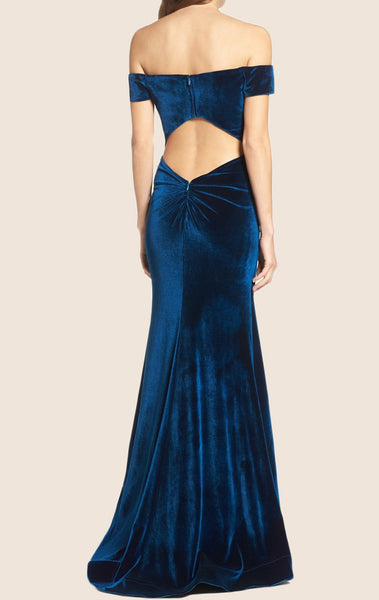 MACloth Off the Shoulder Sheath Velvet Long Prom Dress Formal Gown