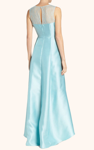 MACloth Straps High Low Satin Prom Dress Sky Blue Formal Gown