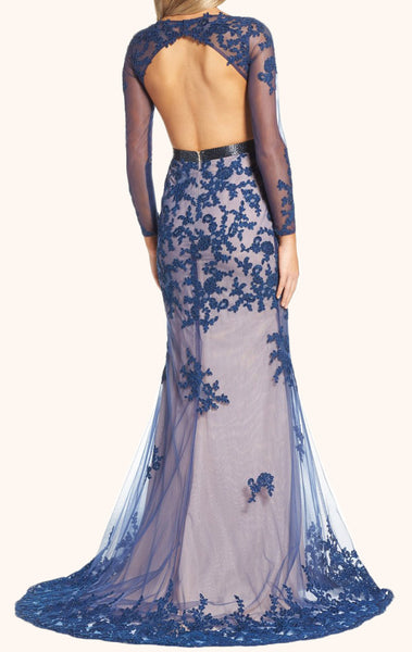 MACloth Mermaid Long Sleeves Lace Formal Evening Gown Navy Prom Dress