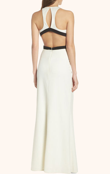 MACloth Two Piece Jersey Sexy Long Prom Dress Ivory Formal Gown