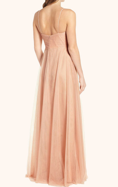 MACloth Straps V Neck Tulle Peach Prom Dress Floor Length Formal Gown