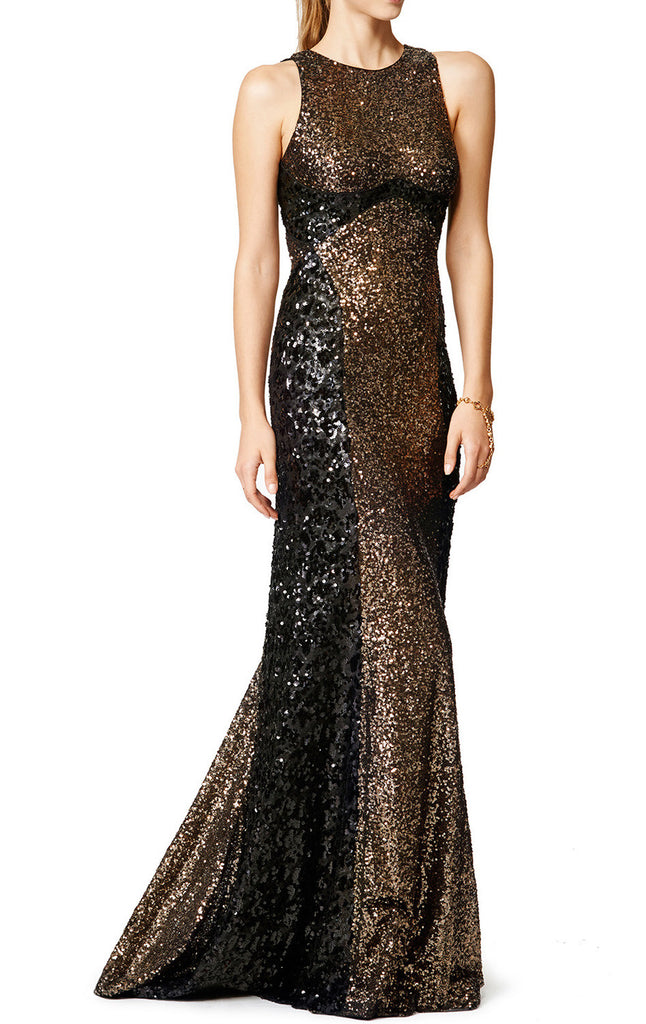 MACloth Mermaid High Neck Sequin Two Tone Evening Gown Simple Prom Dress