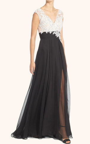 MACloth Straps V Neck Lace Chiffon Evening Gown Black Mother of the Brides Dress