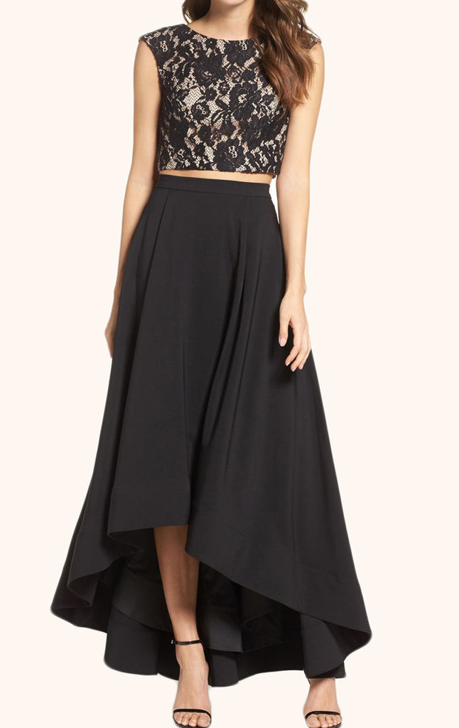 MACloth Two Piece Black High Low Prom Gown Cocktail Party Dress