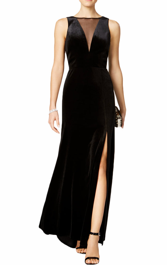 MACloth Straps V Neck Velvet Evening Gown Black Mother of the Brides Dress