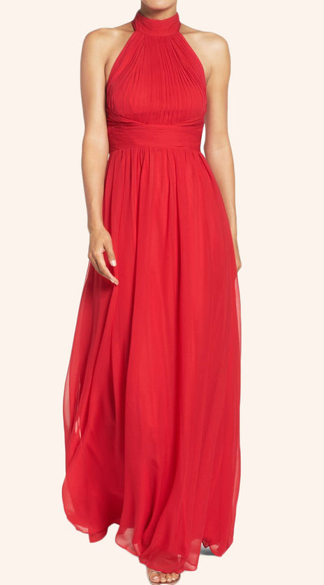 MACloth Halter High Neck Chiffon Long Prom Dress Red Formal Gown