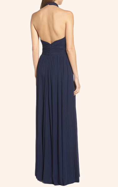 MACloth Halter Chiffon Long Prom Dress Dark Navy Formal Gown