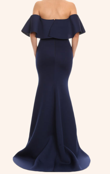 MACloth Mermaid Off the Shoulder Satin Maxi Prom Dress Dark Navy Formal Gown