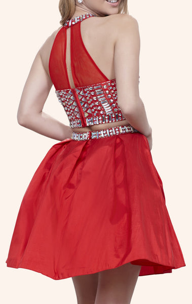 MACloth Two Piece High Neck Crystals Taffeta Mini Prom Homecoming Dress