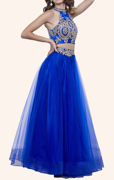 MACloth Two Piece High Neck Lace Tulle Prom Dress Royal Blue Formal Gown