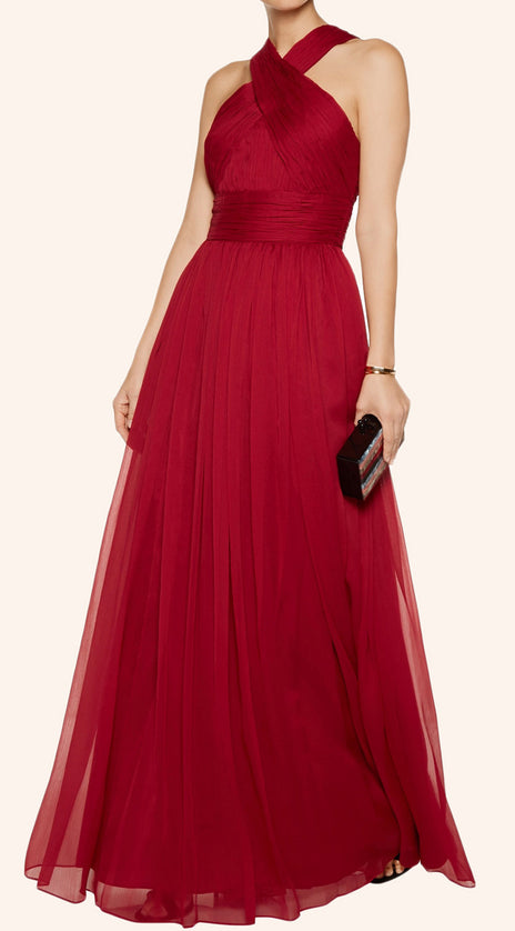 MACloth Halter Chiffon Long Simple Prom Dress Burgundy Formal Gown