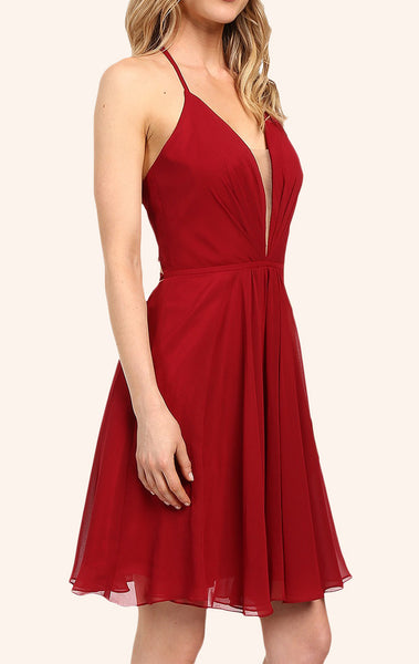 MACloth Straps V Neck Chiffon Cocktail Dress Burgundy Formal Gown