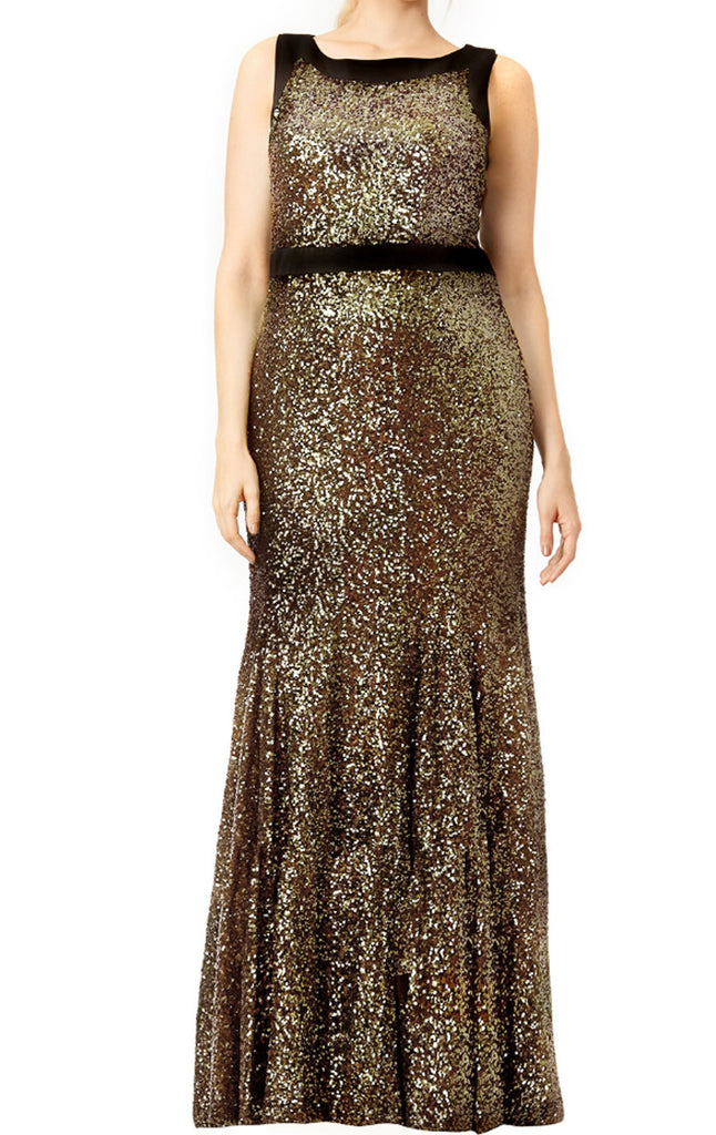 MACloth Mermaid O Neck Sequin Long Prom Dress Brown Formal Gown