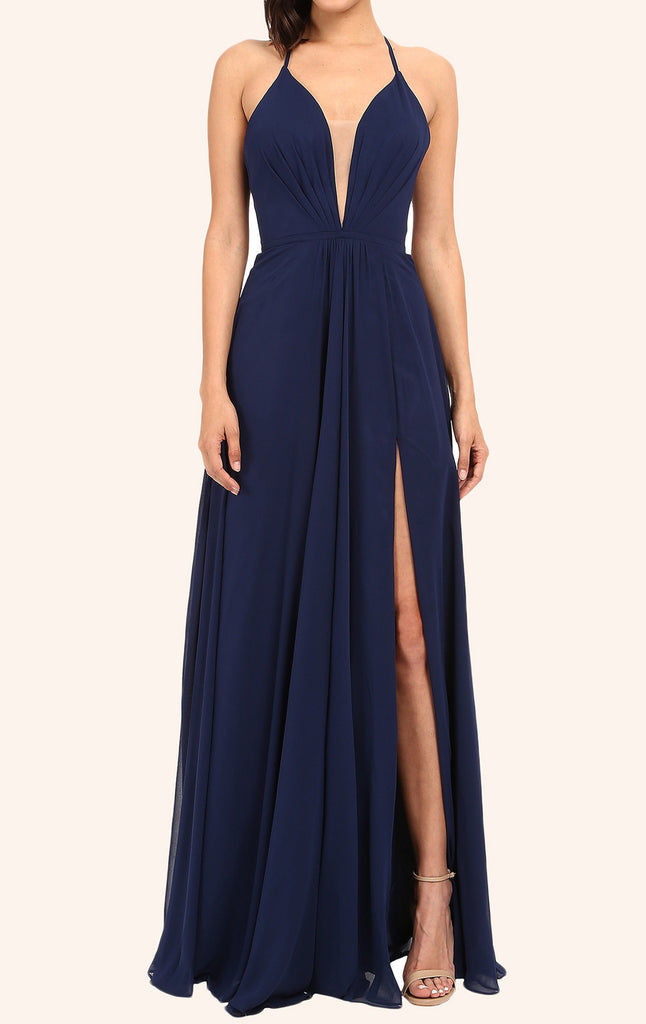 MACloth Straps V Neck Long Prom Dress with Slit Dark Navy Formal Gown