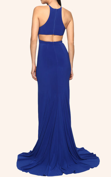 MACloth Mermaid Halter Jersey Prom Dress with Slit Royal Blue Formal Gown